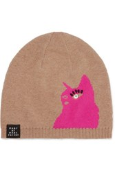 Marc By Marc Jacobs Don't Sweat My Pet Intarsia Merino Wool Beanie Tan