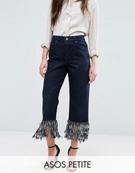 Asos Petite Authentic Straight Leg Jeans In James Wash With Fringe Hem Black