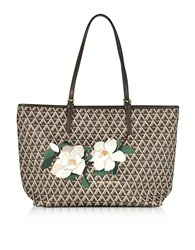 Lancaster Paris Icon Brown Coated Canvas And Leather Tote Bag W Magnolia Embroidery