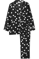 Sleepy Jones Marina Polka Dot Silk Charmeuse Pajama Set Black