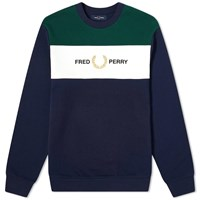 Fred Perry Authentic Embroidered Logo Panel Crew Sweat Blue