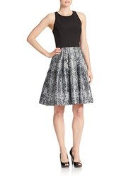 Betsy And Adam Snakeskin Print Skirt Fit Flare Dress Black White