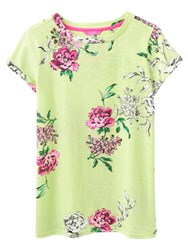 Joules Nessa Relaxed Fit Printed T Shirt Lime Floral