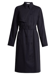 Tomas Maier Wool Gabardine Trench Coat Navy