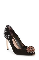 Ted Baker London Peetchv Embroidered Pump Black Suede