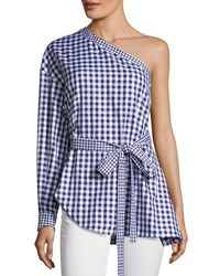 Rosetta Getty Gingham One Shoulder Cotton Blouse Blue White Blue White