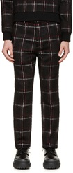Msgm Black And Red Plaid Mohair Trousers