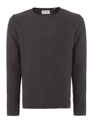 Only And Sons Textured Crew Neck Pull Over Jumpers Dark Grey
