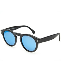 Illesteva Leonard Sunglasses Matte Black And Blue Mirror