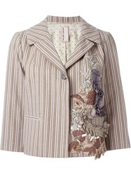 Antonio Marras Ribbon Applique Striped Jacket Nude And Neutrals