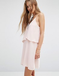 Mango Ruffle Double Layer Dress Blush Pink