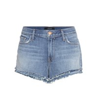 J Brand Sachi Mid Rise Denim Shorts Blue