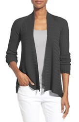 Women's Eileen Fisher Ribbed Tencel Short Cardigan Black