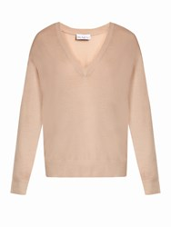 Raey V Neck Fine Knit Cashmere Sweater Nude