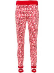 Gucci Mushrooms Jacquard Knit Leggings Women Cotton Viscose Xs Red