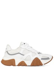 Versace Squalo Leather And Mesh Sneakers White