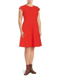 Vince Camuto Plus Cap Sleeve Fit And Flare Dress Pink