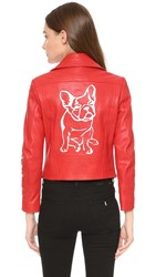 Yigal Azrouel Jagger Patch Moto Leather Jacket Carmine