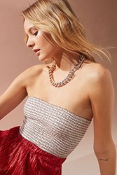 Urban Outfitters Uo Smocked Lurex Tube Top White