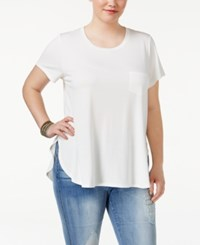 Celebrity Pink Trendy Plus Size High Low Tunic Ivory