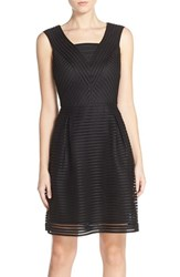 Women's Marc New York Shadow Stripe Stretch Fit And Flare Dress