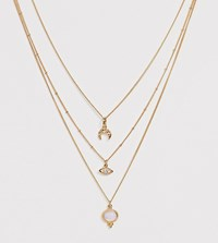 Reclaimed Vintage Inspired Mystic Multirow Necklace Gold