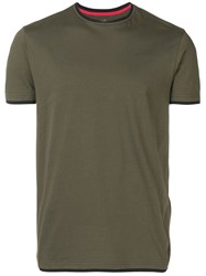 Manuel Ritz Contrast Trim T Shirt Green