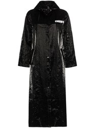 Charm's Eye Print Vinyl Raincoat Black