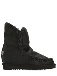 Mou 70Mm Mini Eskimo Wedge Shearling Boots Black