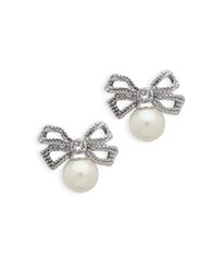 Jenny Packham 8Mm Faux Pearl And Crystal Bow Tie Stud Earrings Silver