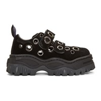 Eytys Ssense Exclusive Black Suede Grommet Angel Sneakers