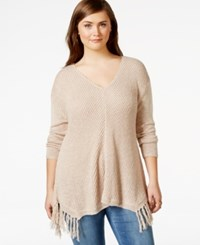 American Rag Plus Size Fringe V Neck Sweater Only At Macy's Raw Umber