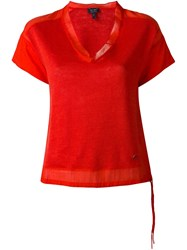 Armani Jeans See Through Hem Blouse Red