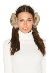 Hat Attack Classic Knit And Rabbit Fur Earmuffs Beige