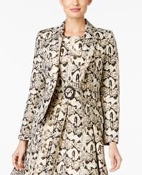 Nine West Printed Jacquard One Button Blazer Black Gold