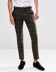 Selected Homme Suit Trouser With Check In Skinny Fit With Stretch Khaki Green