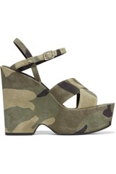Saint Laurent Camouflage Print Distressed Suede Platform Sandals Army Green
