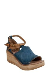 A.S.98 Nino Wedge Sandal Blueberry