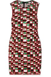 Christopher Kane Checked Sequined Tulle Mini Dress Red