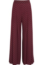 See By Chloe Pleated Polka Dot Crepe Wide Leg Pants Burgundy