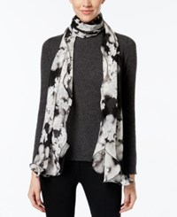 Calvin Klein Tonal Floral Oblong Ruffle Scarf Black Heather Mid Grey