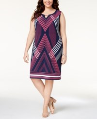 Jm Collection Plus Size Embellished Dress Created For Macy's Pink Grided Strip