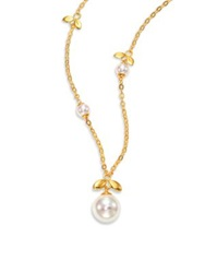 Majorica 6Mm 12Mm White Pearl And Sterling Silver Leaf Pendant Necklace Gold