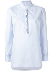 Chinti And Parker Frilled Placket Shirt Blue