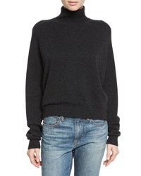 Vince Cashmere Drop Shoulder Turtleneck Sweater Heather Charcoal