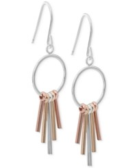 Giani Bernini Tri Tone Stick Drop Earrings In 18K Gold Plate Rose Gold Plate And Sterling Silver Only At Macy's Tri Tone