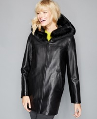 The Fur Vault Fox Trim And Rabbit Fur Lining Hooded Leather Coat Black Black