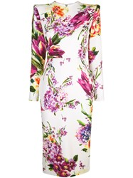 Alex Perry Floral Print Dress White