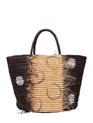 Sensi Studio Maxi Frayed Polka Dot Straw Tote Bag Black