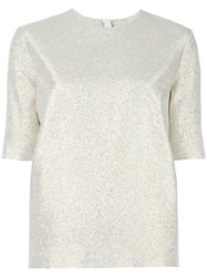 Lanvin Glitter Short Sleeved Top Metallic